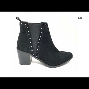 BCBG black suede heeled studded ankle bootie